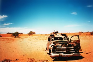 Abandoned car in the desert